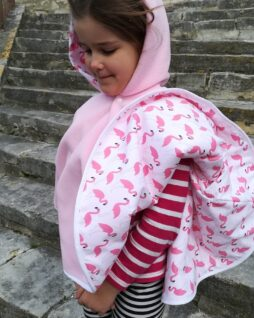 Poncho Flamant rose T. 0/4 ans