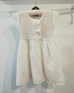 Robe blanche dentelle anglaise & crochet T.4ans