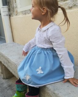 Jupe bleu Butterfly et son jupon blanc T.3 ans